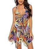 FINWANLO Womens Two Piece Swimsuits Tankini Top Set Mesh Swimdress Feather Printed Swimwear Boyshort Bathing Suits