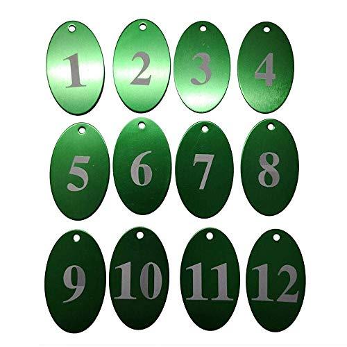 Sourcemall Zahlenanhänger mit Schlüsselring, Aluminiumlegierung 1-25 grün