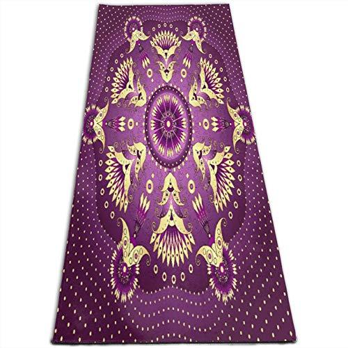 CONICIXI Esterilla Yoga Mandala púrpura, motivo floral árabe étnico retro artístico del Medio Oriente iraní Colchonetas de ejercicio Pilates para entrenamiento en casa Gimnasio Fitness Meditación