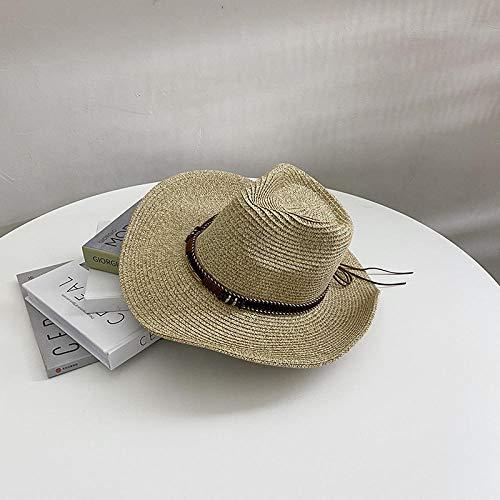 TOORY mural Sombreros De Verano para Hombres Y Mujeres Sombreros De Paja Sombreros De Copa De Jazz Británico Amantes De Los Sombreros De Playa De Vacaciones Salvajes-Caqui