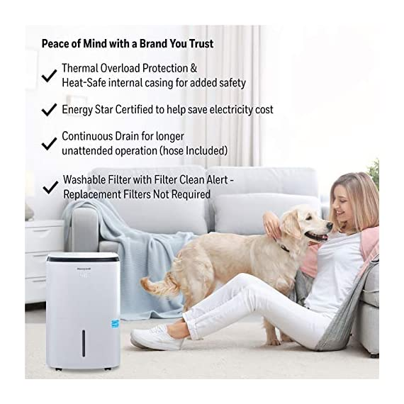 Honeywell Basement & Small Room Up to 1000 Sq. Ft, TP30AWKN Smart Wi-Fi Energy Star Dehumidifier, 30 Pint, White 7 POWERFUL DEHUMIDIFIER FOR ROOMS UP TO 4000 SQUARE FEET: This powerful beast effectively removes up to 70 pints of moisture from the air (50-Pint 2019 DOE Standard) to protect walls, curtains, furniture and appliances from excess household moisture. Ideal for large basements, living rooms, cellars, and storage rooms. PEACE OF MIND WITH A BRAND YOU TRUST: Honeywell Dehumidifiers are top rated by an independent, US-based product safety-testing agency since 2016 and all Honeywell Dehumidifiers are backed by an outstanding warranty. Plus, if you ever need help, the Honeywell Home Comfort customer service hotline connects you directly to an in-house customer support team who are ready to help (during office hours). SMART & VERSATILE: Wi-Fi-Enabled and compatible with Amazon Alexa voice commands, the Honeywell Smart Dehumidifier can be controlled from almost anywhere. Change humidity and fan-speed settings without moving away from your busy routine.