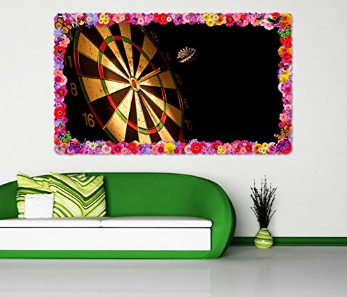3D Wandtattoo Sport Dart Pfeil Dartscheibe Blumen Rahmen Wandbild Tattoo Wohnzimmer Wand Aufkleber 11L1348, Wandbild Größe F:ca. 97cmx57cm