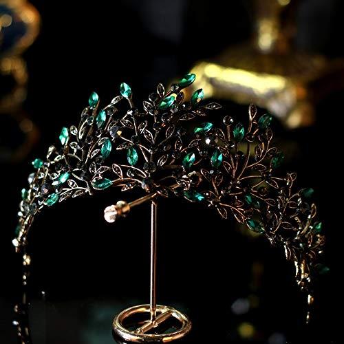 Tocado de novia de Lujo barroco negro verde cristal hoja novia corona...