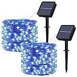 HDHUIXS Luces de cuerdas solares al aire libre, 2 paquetes 100...