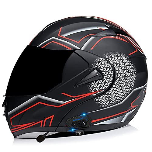 Bluetooth Integrado Casco de Moto Modular con Doble Visera Cascos de Motocicleta ECE/DOT Homologado Prueba de Viento para Hombres Mujeres Abatible Casco F,S=55~56CM