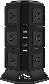 電源タップ タワー式 USB コンセント AC 12個口+5USBポート 急速充電 2個スイッチ付 雷ガード 過負荷保護 省エネ 1.8m延長コード 家庭/オフィス給電用 テーブルタップ ブラック