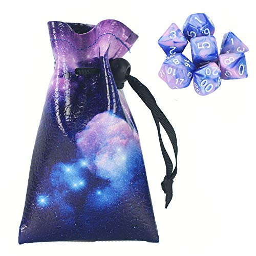 QIELIZI DND Dice Bag Pouch,PU Leather Dragon Dice Pouch Wih 7 Die Set Perfect for Dungeons and Dragons RPG D&D Dices, Coins and Accessories(Unicorn)