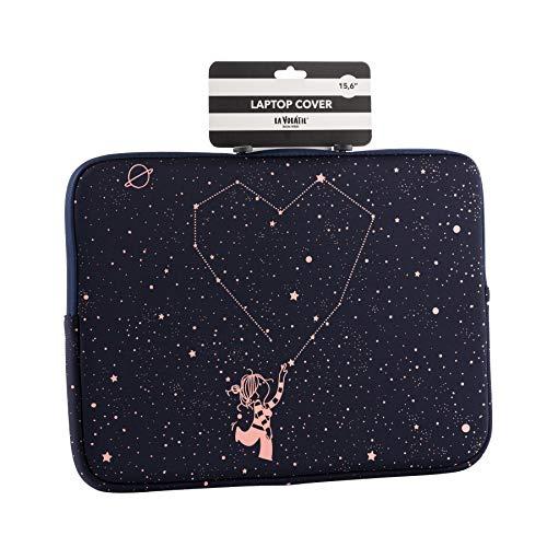 La Volátil Funda de portátil de hasta 16' con diseño de estrellas rosas sobre fonzo azul oscuro, Acolchada y Reforzada con Cremallera