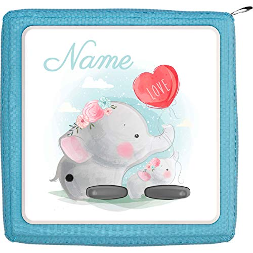 Coverlounge® Schutzfolie passend für die Toniebox mit Namen personalisiert   Baby Elefant hält Luftballon Love
