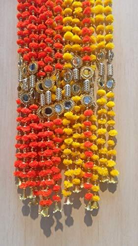 Estationeryhouse - Guirnalda de Pompones Indios Hecha a Mano con Espejos y Campanas de 1,5 m Aprox, Paquete de 5 guirnaldas de Colores Mezclados