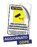 Cartelli Adesivi A4 A5 A6 Segnali in Plastica Pvc Videosorveglianza Area Videosorvegliata - AGGIORNATO ULTIMA NORMATIVA GDPR (1, A6 (148x105mm))