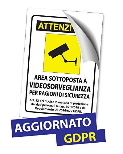 Cartelli Adesivi A4 A5 A6 Segnali in Plastica Pvc Videosorveglianza Area Videosorvegliata - AGGIORNATO ULTIMA NORMATIVA GDPR (1, A5 (210x148mm))