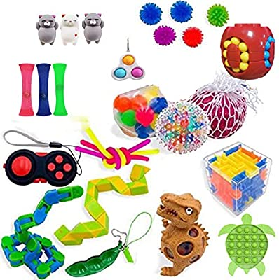 Sensory Fidget Toys Set, Stress Relief and ADHD Autism Cube Top Toy for Kids and Adults, Pack of Squeeze Balls, Soybean Squeeze, Push Pop Bubble Fidget Toy (Pattern C, One Size) de BAO