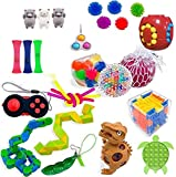 Sensory Fidget Toys Set, Stress Relief and ADHD Autism Cube Top Toy for Kids and Adults, Pack of Squeeze Balls, Soybean Squeeze, Push Pop Bubble Fidget Toy (Pattern C, One Size)