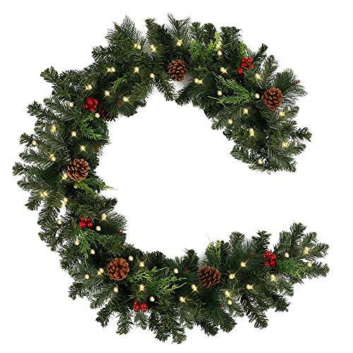 Relax love Weihnachtsgirlande Tannengirlande 180CM Weihnachtsdeko Girlande Weihnachten Dekoriert Grün Künstlich Geschmückt Tannen Girlande mit Roter Beeren,für Türen, Wände, Kamine (#A 30 LED)