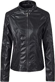 DISSA P1874 Women Faux Leather Bomber Jacket Slim Coat Leather Jacket