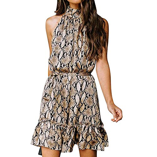 Damen ärmellose Blumendruck Halfter Trägerlose Rüschen Bandage Lässig Elegantes Kleid Knielang für Party S-XXL
