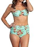 Marina West High Waisted Bikini Swimsuit Set (S, Rose Mint)