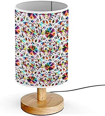 ARTSYLAMP - Wood Base Decoration Desk Table Bedside Light Lamp [ Mexican Otomi Style ]
