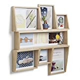 UMBRA Edge Frame multi wall. Cadre pêle-mêle mural Edge, en bois, pour 11 photos dont 4 de 10x10cm, 7 de 10x15cm, et 2 de 13x18cm. Coloris bois naturel.