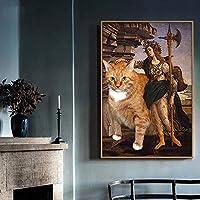 (A)ノルディックライトの壁画40 * 60CM現代のミニマリズムリビングルームのオレンジ色の猫のキャラクター贅沢な入り口を描く装飾画を食事した後抽象レストラン YANG1MN