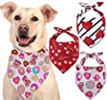 Odi Style Valentines Dog Bandana - 3 Pack, Hearth, Donut, Paw Printed Cute Dog Valentines Day Bandana, Valentines Dog Costume Bandanas for Small, Medium, Large Dogs, Valentine Puppy Outfit