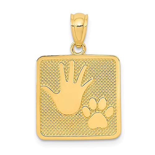 Jewels By Lux 14K Oro Pulido y Textura de Cachorro y yo Colgante Cuadrado