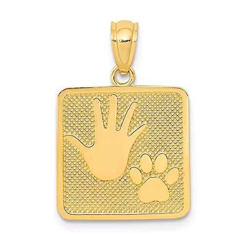 Saris and Things 14k gelbgold poliert und texturiert pup & me Quadrat-anhänger
