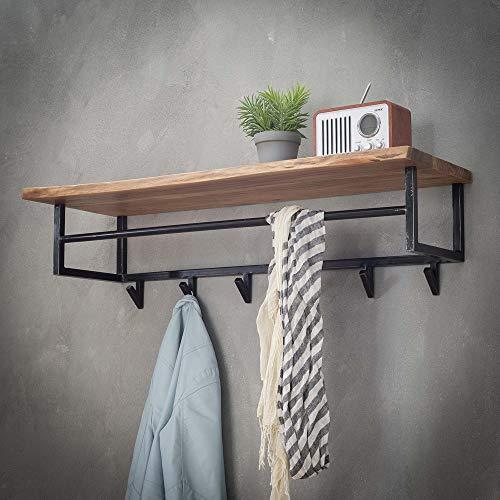 Maison ESTO Wandgarderobe Hängegarderobe 6 Haken Stange 100 cm breit Akazie Metall Garderobe