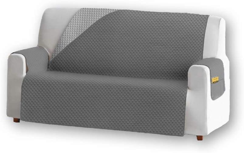 Unishop Funda de Sofa Protector de Sofá Cubre Sofá Bicolor Protector para Sofás Acolchado Reversible para Mascotas Muebles Polvo (Gris, 4 Plazas)
