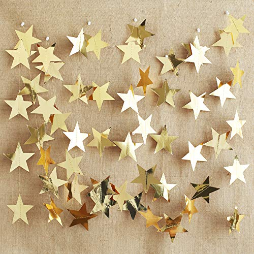KOKER Set of 2 26-feet Twinkle Star Shaped Hanging Decoration String Party Paper Garland Color Gold