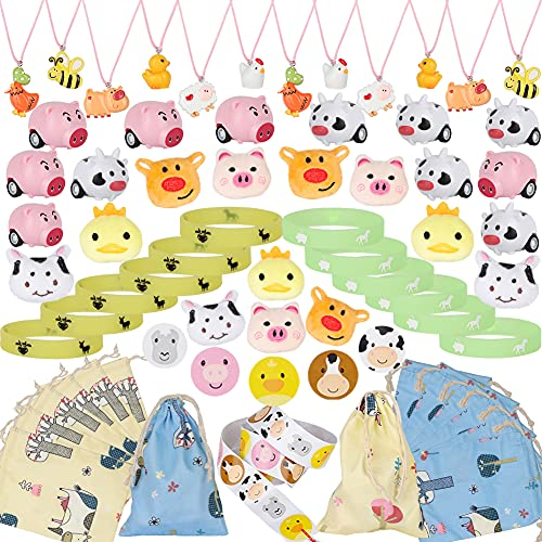 61 PCS Farm Animal Party Favors Set  Barn Party Cow Farm House Pig Necklace Bracelet Brooch Stickers Friction Cars Toys Gift Bag Zoo Goodie Bags for Kids Birthday Supplies
