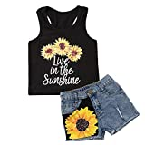 Honganda Fashion 2Pcs Toddler Kids Baby Girl Sunflower Outfits Sleeveless Tank Top+Denim Shorts Summer Clothes(B-Black, 5-6 Years)