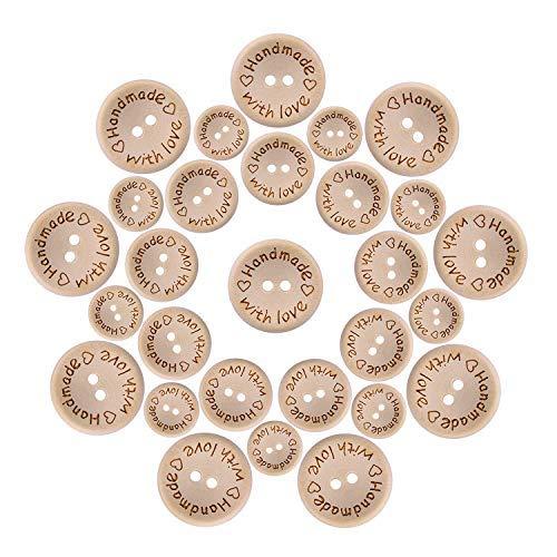 OOTSR 150 pezzi Bottoni in legno fatti a mano con amore, 2 fori bottoni rotondi in legno per cucire decorazioni artigianali (15/20 / 25mm)