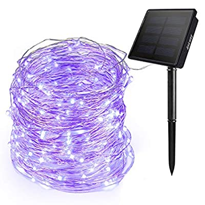 Ankway Purple Solar String Lights Outdoor 200 LED Fairy Lights 3-Strand Copper Wire Light 8 Modes 72 ft Solar Powered String Lights Waterproof Twinkle Lights for Indoor Xmas Tree Garden Patio House