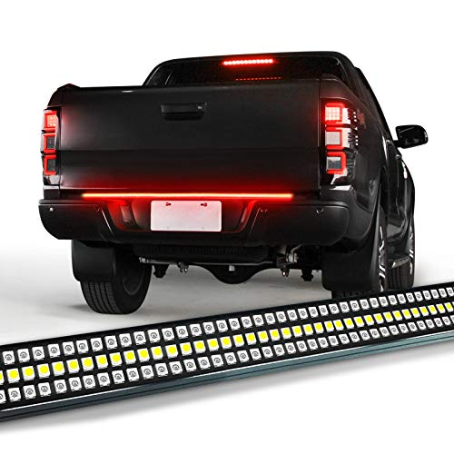 """OPT7 60"""" Redline Triple LED Tailgate Light Bar w/Sequential RED Turn Signal - 1,200 LED Solid Beam - Weatherproof No Drill Install - Full Function Reverse Brake Running"""