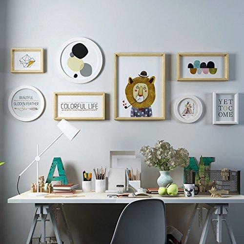 Cadre décoratif Bois massif composite, hypoténuse ensembles de mur de cadre photo en trois dimensions de 8 ensemble de peintures décoratives (Couleur : C)