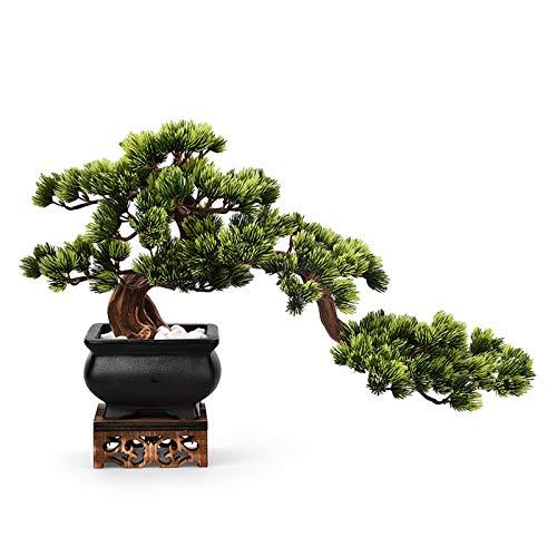 Planta Artificial Línea de pino acogedor artificial Planta en maceta con base de madera Adornos Zen Sala de estar Entrada del hotel Artificial Bonsai Green Plant Decoración de escritorio Árboles Artif