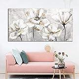 Poster Blanco Y Dorado Impresiones De Flores Pintura De Lienzo Horizontal Arte De Pared Largo Cuadros De Flores para La HabitacióN De Oficina Decoracion sobre La Cama 60x120cm Sin Marco