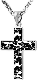 Bape Camo Stencil Couple Zinc Alloy Chain Cross Necklace Zinc Alloy Pendant Jesus Prayer Christian 24 Inch