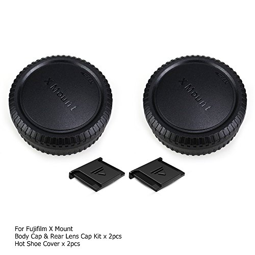 2 Pack X Mount Body Cap Cover & Rear Lens Cap for Fuji Fujifilm X-T3 X-T2 X-T1 X-T30 X-T20 X-T10 X-H1 X-PRO3 X-PRO2 X-PRO1 X-E3 X-E2S X-E2 X-E1 X-A7 X-A5 X-M1 and More Fujifilm X Mount Camera and Lens