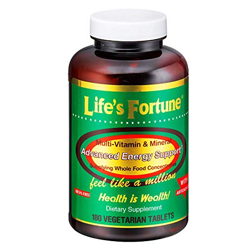 Lifes Fortune Multivitamin & Mineral Tablets, All Natural Energy Source Supplying Whole Food Concentrates, Antioxidants, Amino Acids, Enzymes, Trace Minerals & All Daily Essential Vitamins (180 Count