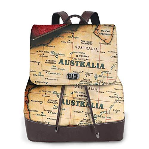 SGSKJ Rucksack Damen Touristenreisepass für Australien, Leder Rucksack Damen 13 Inch Laptop Rucksack Frauen Leder Schultasche Casual Daypack Schulrucksäcke Tasche Schulranzen