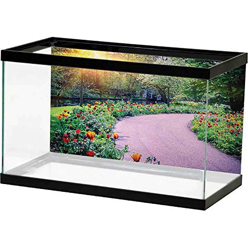 bybyhome PVC Aquarium Decorative Garden,Spring Landscape with Colorful Tulips Keukenhof Garden in Netherlands Horticulture,Multicolor Decorate Fish Tank