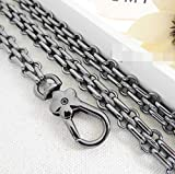 DIY Splicing Shape Wide 12mm Black Chain for Women Bags Replacement Purse Chain Strap Chain Purse Bag Strap (Length 31 inch)