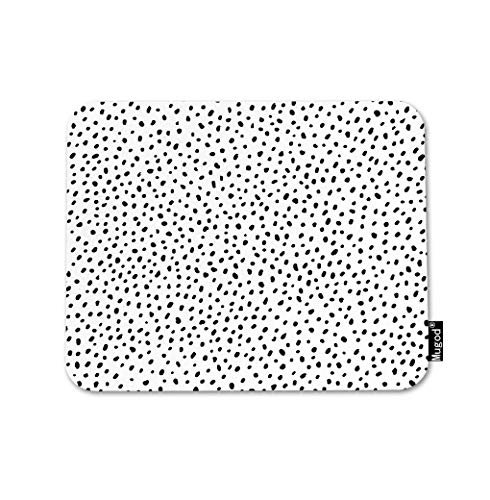 Mugod Polka Dot Texture Mouse Pad Abstract Scattered Pieces Black and White Spot Gaming Mouse Mat Non-Slip Rubber Base Mousepad for Computer Laptop PC Desk Office&Home Working 9.5x7.9 Inch