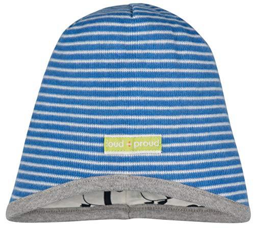 loud + proud Jungen Wendemütze Ringel Aus Bio Baumwolle, GOTS Zertifiziert Mütze, Blau (Cobalt Cob), 37/39 (Herstellergröße: 62/68)