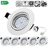 Spot LED Encastrables Orientable, Bojim 6x GU10 6W Lampe de Plafond Blanc Chaud Rond Plafonnier Encastré 2800K 600lm Equivalente...