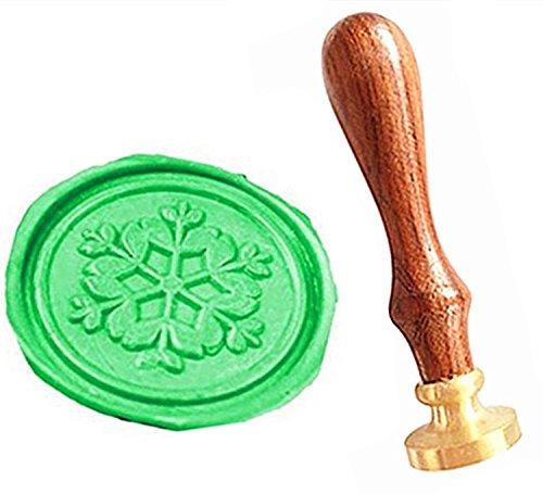 MNYR Vintage Sneeuwvlok Bloem Kerstmis Cadeaukaart Sealing Art Wax Seal Stamp Rozenhout Handvat Decoratieve Bruiloft Uitnodiging Cadeaukaart Stationaire Envelop Aangepaste Logo Foto Wax Seal Sealing Stamp Set Stamp Only
