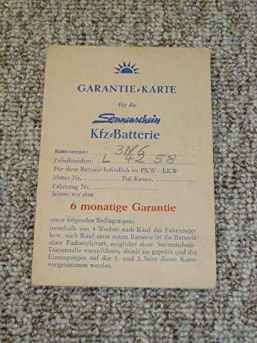 Garantiekarte für die Sonnenschein Kfz-Batterie 3 N 6